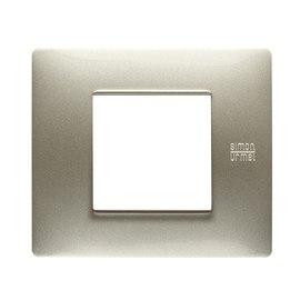 Placca 2 moduli Simon Urmet Nea Flexa titanio