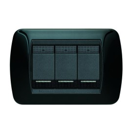 Placca 3 moduli BTicino Living International nero