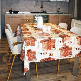 Tovaglia plastificata Caffè vintage marrone 220 x 140 cm