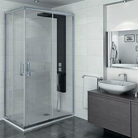 Box doccia scorrevole Manhattan 67-69 x 87-89, H 200 cm cristallo 6 mm trasparente/cromo