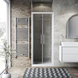 Porta doccia battente Record 67-71, H 195 cm vetro temperato 6 mm trasparente/bianco opaco