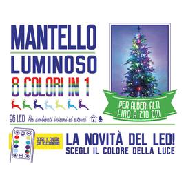 Mantello luminoso per albero 96 Led cromo RGB