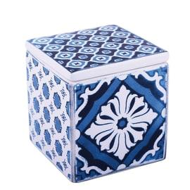 Porta cotone Mosaic bianco/blu