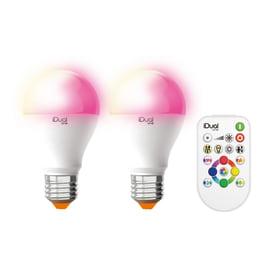 2 lampadine LED Lexman iDual E27 =60W globo multicolore (RGB) 150°