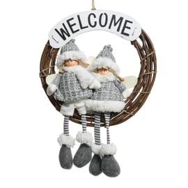 Fuoriporta welcome con bambini grigio, ø 40 cm