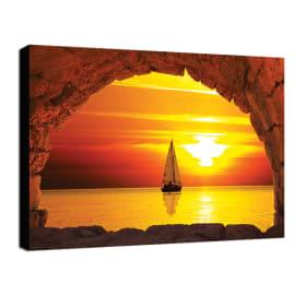quadro su tela Finestra barca 30x40