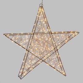 Decorazione luminosa stella 3d 240 minilucciole Led classica gialla L 1 x H 8 cm