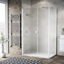 Doccia con porta battente lato fisso in linea e lato fisso Neo 69 - 71 + 40 cm x 77 - 79 cm, H 200 cm vetro temperato 6 mm bianco opaco