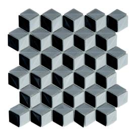 Mosaico Cubo 3D 28 x 28 cm bianco, nero, grigio