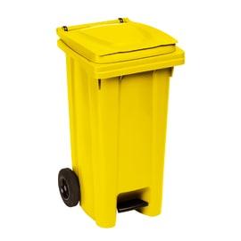 Bidone Carrellato e apertura a pedale giallo satinato 120 L