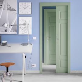 Porta da interno battente Coconut Groove verde 80 x H 210 cm dx