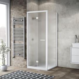 Doccia con porta pieghevole e lato fisso Record 67 - 71 x 77 - 79 cm, H 195 cm vetro temperato 6 mm satinato/bianco opaco