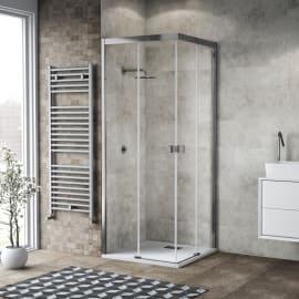 Box doccia scorrevole Neo 67-69 x 67-69, H 200 cm vetro temperato 6 mm trasparente/silver