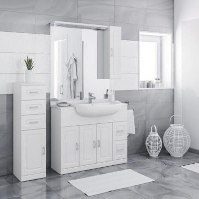 Mobile bagno paola bianco l 100 cm prezzi e offerte online for Mobili bagno prezzi