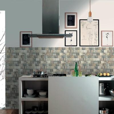 Rivestimento decorativo bistrot grigio beige prezzi e for Rivestimento 3d leroy merlin