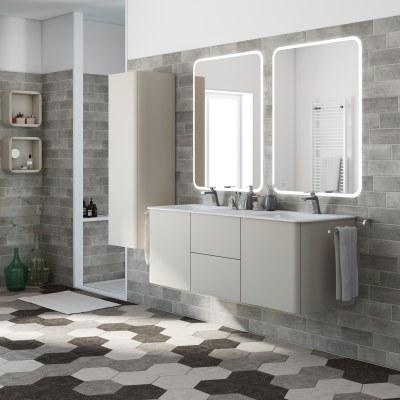 Mobile bagno liverpool grigio natura l 140 cm prezzi e for Leroy merlin lavabo bagno