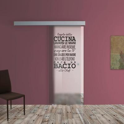 Porta scorrevole con binario esterno Regole Cucina in vetro Kit A L 88 x H  215 cm sx