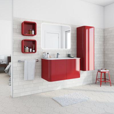 Mobile bagno Liverpool rosso L 94 cm