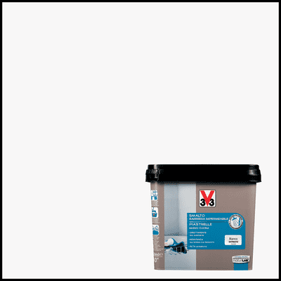 Smalto Piastrelle V33 bianco piuma satinato 0,75 L