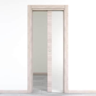 Porta da interno scorrevole Resort Vetro Larice ghiaccio 70 x H 210 cm reversibile