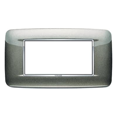 Placca 4 moduli Vimar Eikon  Round titanio metal