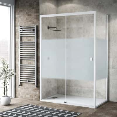 Doccia con porta scorrevole e lato fisso Neo 132 - 136 x 77 - 79 cm, H 200 cm vetro temperato 6 mm serigrafato/bianco opaco