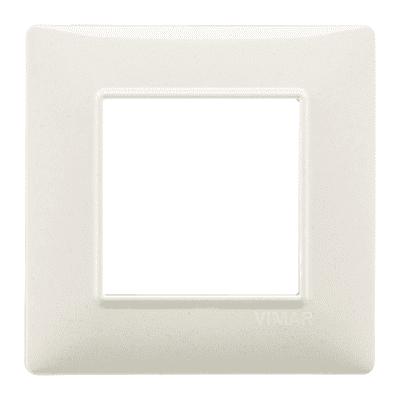 Placca 2 moduli Vimar Plana bianco granito