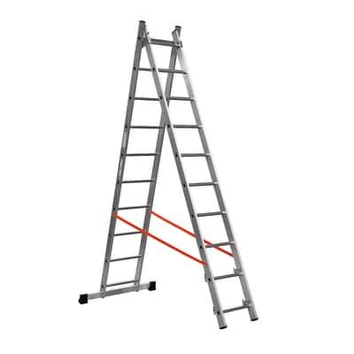 Scala sfilo alluminio Gierre 10 gradini, per lavori fino a 5,4 m