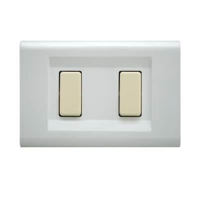 Placca 2 moduli FEB Laser bianco