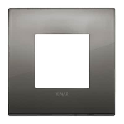 Placca 2 moduli Vimar Arké cromo nero