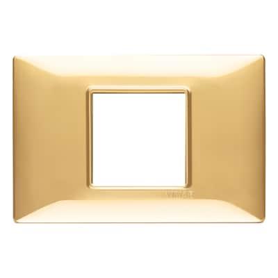 Placca 2 moduli Vimar Plana oro lucido