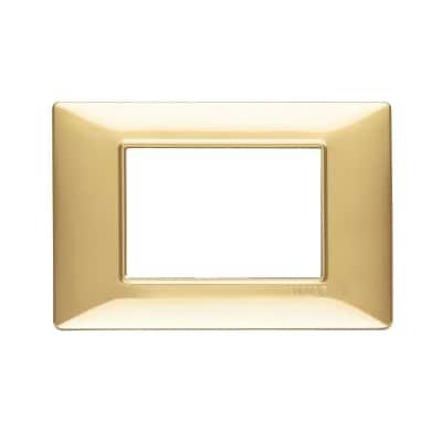 Placca 3 moduli Vimar Plana oro lucido