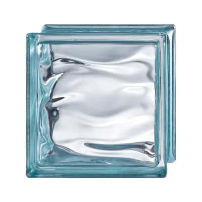 Vetromattone Agua Riflessi blu ondulato effetto acqua 19 x 19 x 8 cm