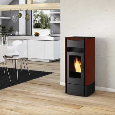 Stufa a Pellet Milly 8,5 kW bordeaux
