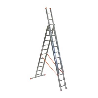 Scala sfilo alluminio Facal 3x11 gradini, per lavori fino a 9,2 m
