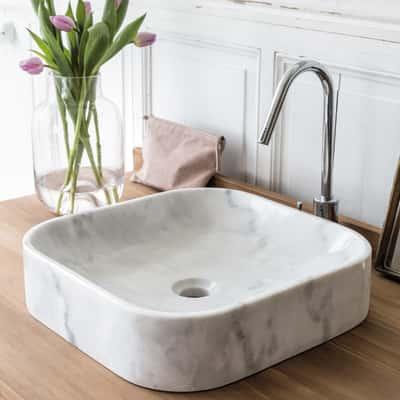 Lavabo da appoggio quadrato Tikamoon Perseus bianco L 40 x P 40 x H  10 cm bianco latte