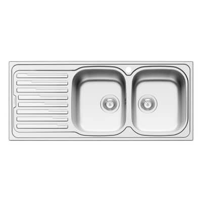Lavello incasso Amaltia Dekor L 116 x P  50 cm 2 vasche DX + gocciolatoio
