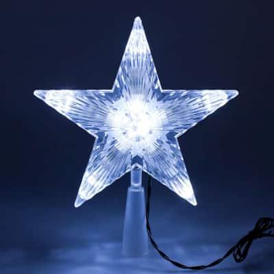 Puntale a stella luminoso 10 minilucciole Led bianca fredda L 18 x P 18 x H 21 cm