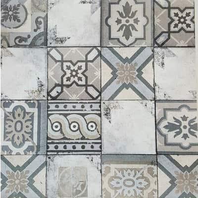 Carta da parati Piastrella mosaico grigio 10 m