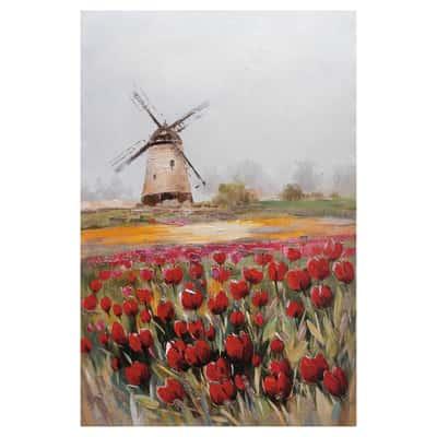 quadro dipinto a mano Mulino con tulipani 60x90 prezzi e offerte ...