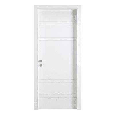 Porta da interno battente One White Incisa + kit telaio bianco 60 x H 210 cm reversibile