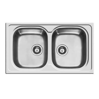Lavello incasso Amaltia L 86 x P  50 cm 2 vasche