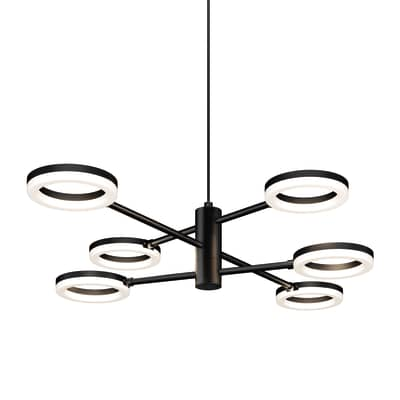 Lampadario Moderno Iring LED integrato bianco, in metallo, L. 75.5 cm, 6 luci, INSPIRE