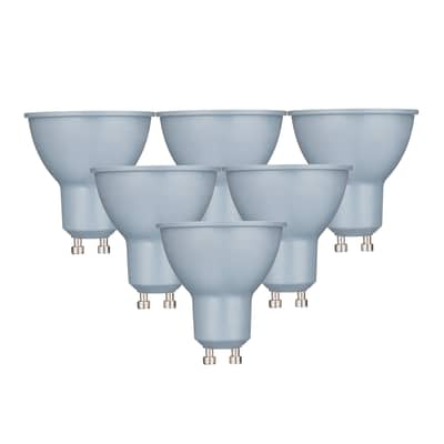 Set di 6  lampadine LED, GU10, Faretto, Smerigliato, Luce calda, 6W=450LM (equiv 50 W), 100° , LEXMAN