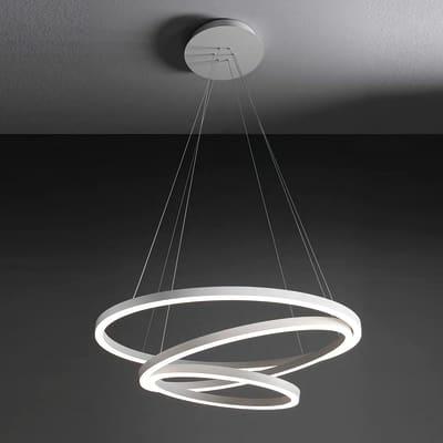 Lampadario LED integrato bianco, in alluminio, D. 80 cm