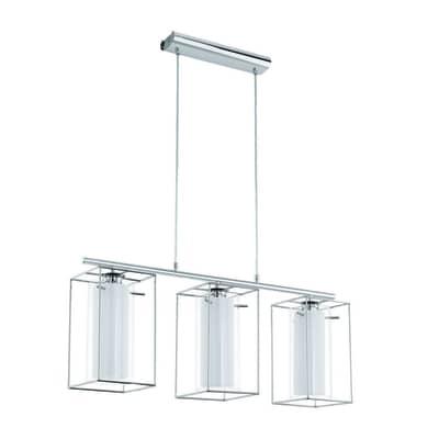 Lampadario Moderno Loncino 1 bianco, trasparente in acciaio inossidabile, D. 15 cm, 3 luci, EGLO