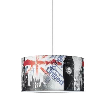 Lampadario Pop London Underground bianco, nero, rosso, blu, grigio in tessuto, D. 40 cm