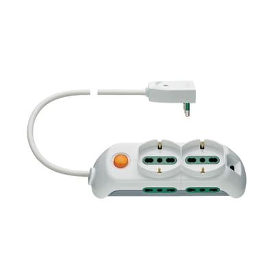 Multipresa con cavo e con protezione FP00521.L.B - bianco 6 prese
