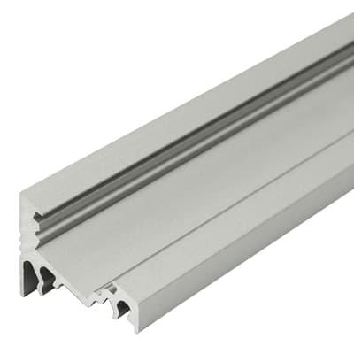 Profilo per strisce led, in metallo, grigio / argento, 2 m