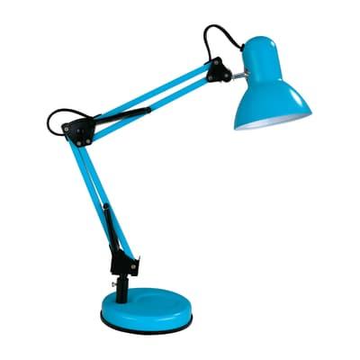 Lampada da scrivania flessibile Ennis azzurro, in metallo, E27 MAX40W IP20 INSPIRE